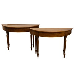 Pair of English 19th Century Mahogany Demilune Console Tables with Turned Legs