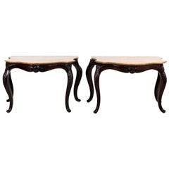 Pair of English 19th Century Mahogany Marble-Top Console Tables