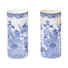 Pair of English 19th Century Mason's Patent Blue and White Ironstone Vases