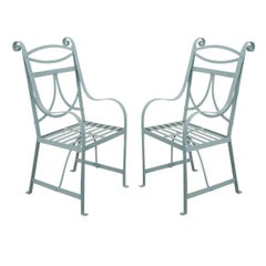 Pair of English 19th Century Painted Regency Garden Chairs