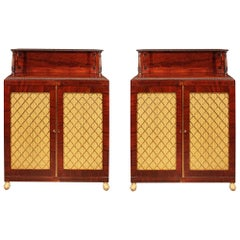 Pair of English 19th Century Regency Period Flamed Mahogany Cabinets