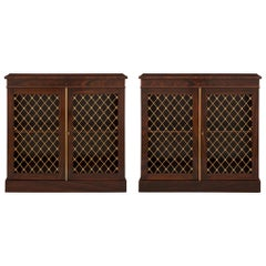 Pair of English 19th Century Regency Style Rosewood and Ormolu Cabinets