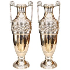 Pair of English '19th Century' Silver-plated Classic Vases