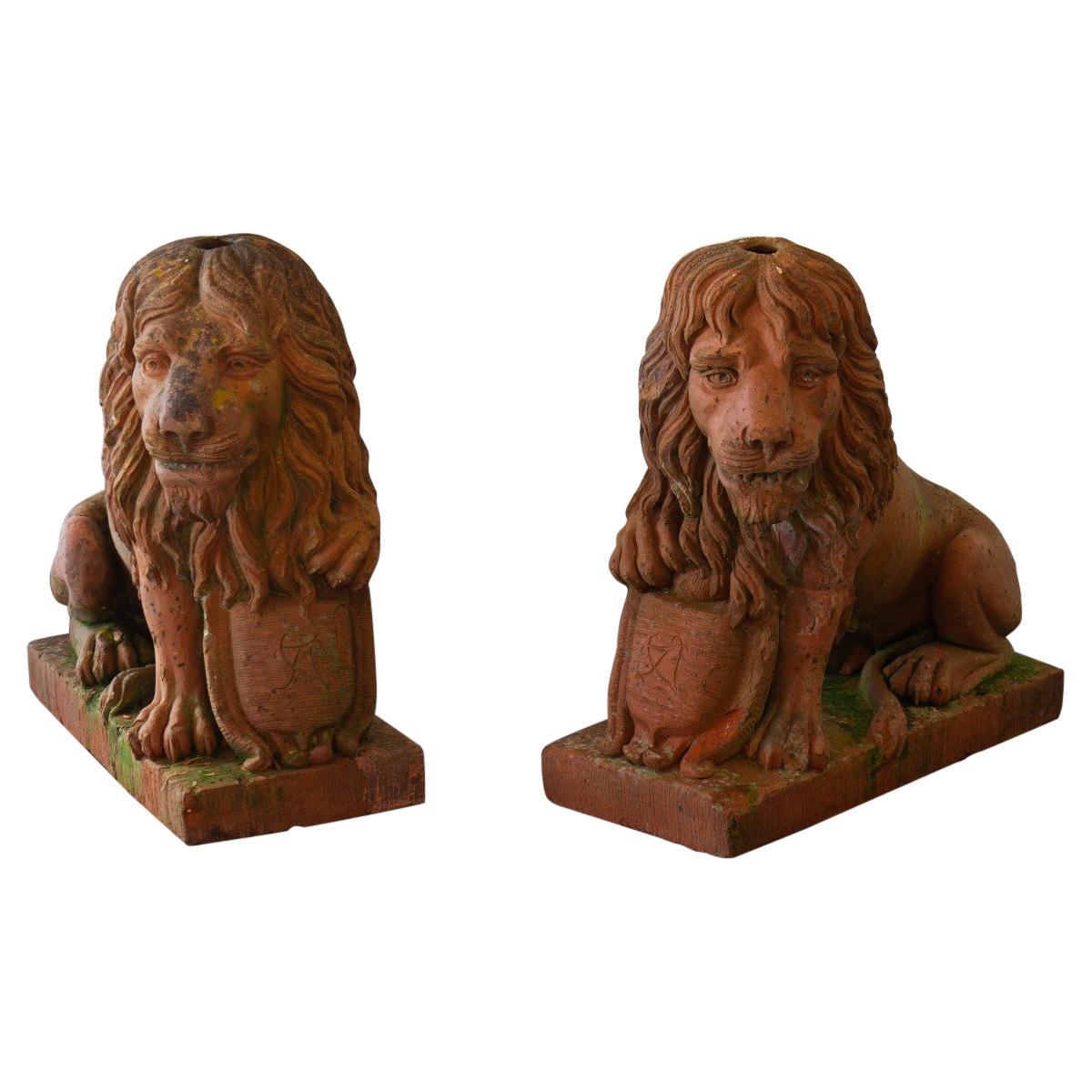 Pair of English 19th Century Terracotta Lions