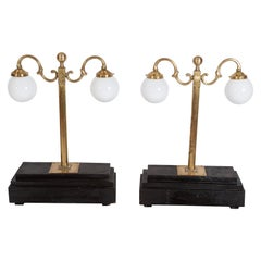 Pair of English 19thc Brass Library Lamps