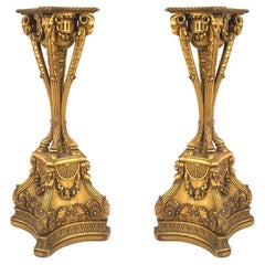 Pair of English Adam Gilt Ram Pedestals