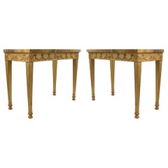 Pair of English Adam Neoclassic Style Giltwood and Marble Console Tables
