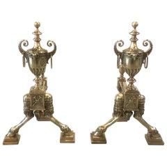 Pair of English Adam Style Cast Bronze Chenets Andirons