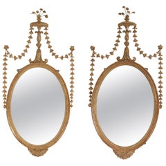 Pair of English Adam Style Oval Giltwood Wall Mirrors