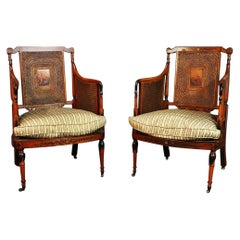 Pair of English Adams Style Cane Back Paint Decorated Club Chairs