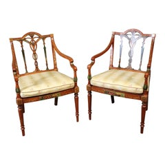 Pair of English Adams Style Satinwood Paint Decorated Cane Seat Armchairs