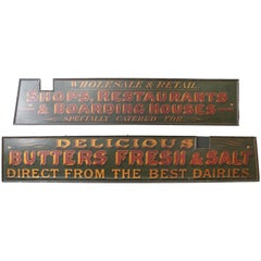Pair 19th Century English Advertising Signs in Green, Red & Gold