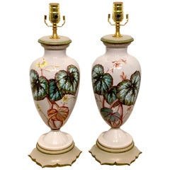 Pair of English Aesthetic Ginger Leaf Motif Opaline Vases, Now as Lamps