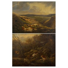 Pair of English Antique Hunt Scene Landscape Paintings with Setter Dogs
