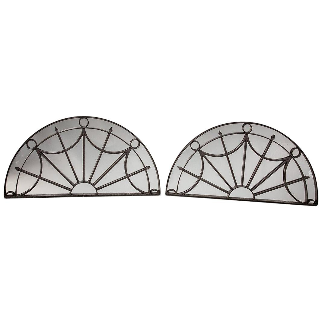 Pair of English Architectural Georgian Iron Fanlights Mirrors
