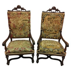 Pair of English Armchairs Upholstered in Tapestry Fabric, 19th Century