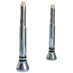 Pair of English Art Deco Chrome and Bakelite Spitfire Bullet Faux-Candle Lamps