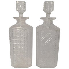 Pair of English Art Deco Cut Crystal Decanters