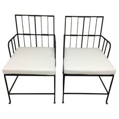 Pair of English Art Deco Iron Armchairs