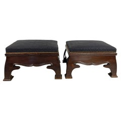 Pair of English Arts and Crafts Period Upholstered Footstools