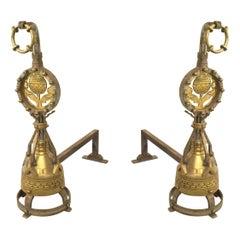 Pair of English Arts & Crafts Brass Andirons