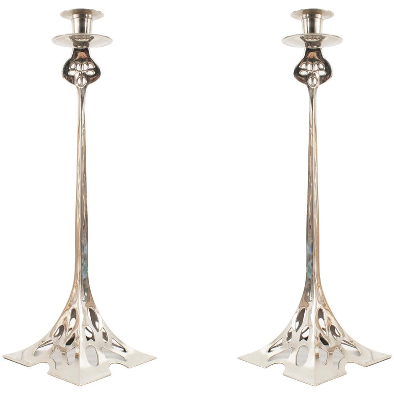 Pair of English Arts & Crafts Silver-Plated Pewter Candlesticks For Sale