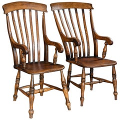 Pair of English Beech and Elm Slat Back Windsor Carver Chairs, Late 19th Century