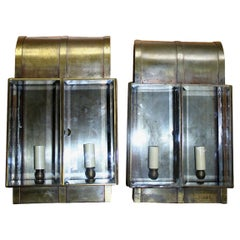 Pair of English Beveled Glass Lantern Sconces