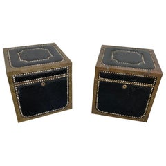 Pair of English Black Leather and Brass Covered Cedar Trunks