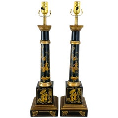 Pair of English Black Tole Gilt Chinoiserie Column Lamps