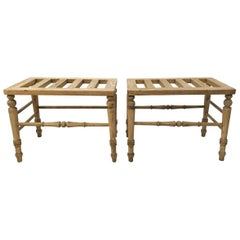 ENGLISH BLEACHED OAK Pair of Luggage Racks, Late 19th Century