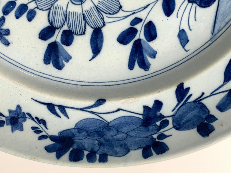 Pair of English Blue and White Delft Chargers Made, Mid-18th Century, Circa 1760 For Sale 1