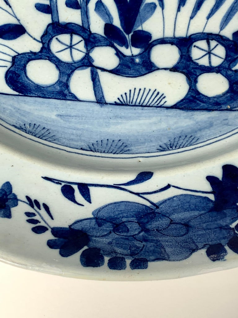 Pair of English Blue and White Delft Chargers Made, Mid-18th Century, Circa 1760 For Sale 2
