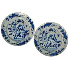 Pair of English Blue and White Delft Chargers Made, Mid-18th Century, Circa 1760