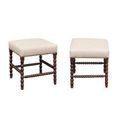 Pair of English Bobbin-Legs Oak Stools, circa 1880 with New Linen Upholstery