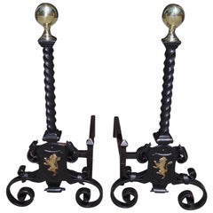 Pair of English Brass Ball and Wrought Iron Lion Motif Andirons, Circa 1830