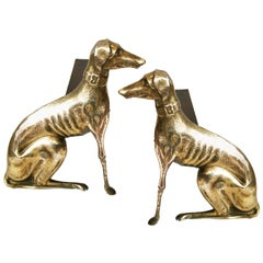 Pair of English Brass Greyhound Dog Andirons from the 20th Century