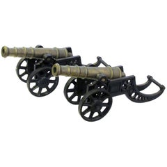 Pair of English Brass Ornamental Signal Cannons on Cast Iron Carriages