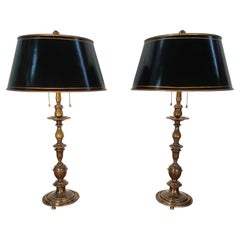 Pair of English Bronze Balustrade Lamps with Tole Shades, Early 20th Century
