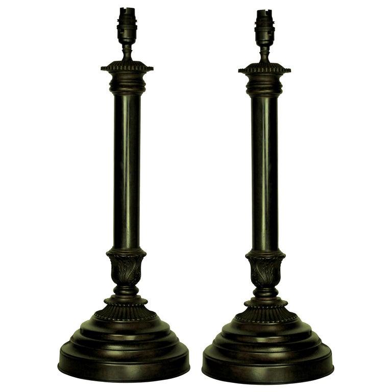 Pair of English Bronze Neoclassical Lamps 1