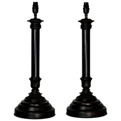 Pair of English Bronze Neoclassical Lamps