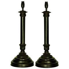 Pair of English Bronze Neoclassical Lamps