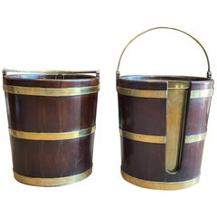 Pair of English Buckets Mahogany and Brass George III