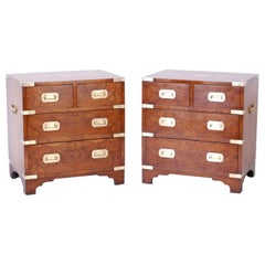 Pair of English Campaign Nightstands