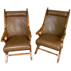 Pair of English Campaign Style Chair Elm and Leather Chairs