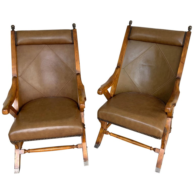 Pair of English Campaign Style Chair Elm and Leather Chairs For Sale