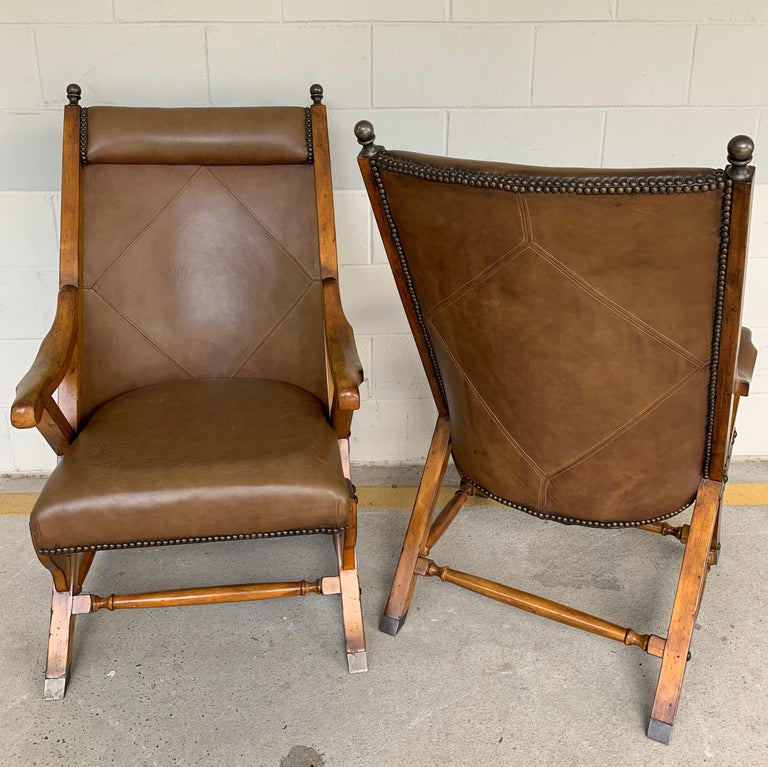 Pair of English Campaign Style Chair Elm and Leather Chairs In Good Condition For Sale In Atlanta, GA