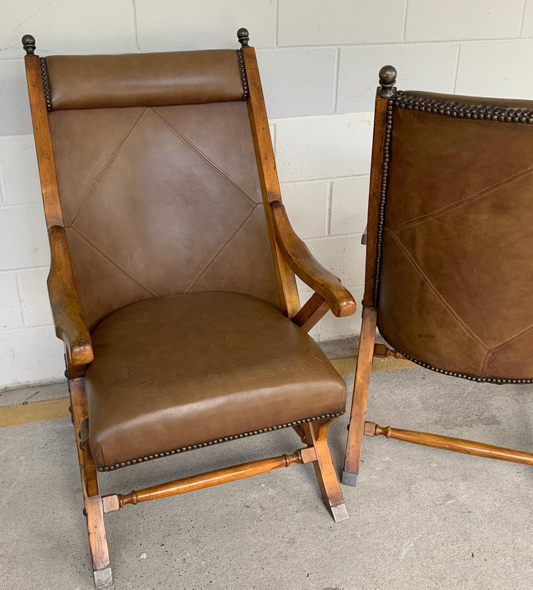 20th Century Pair of English Campaign Style Chair Elm and Leather Chairs For Sale