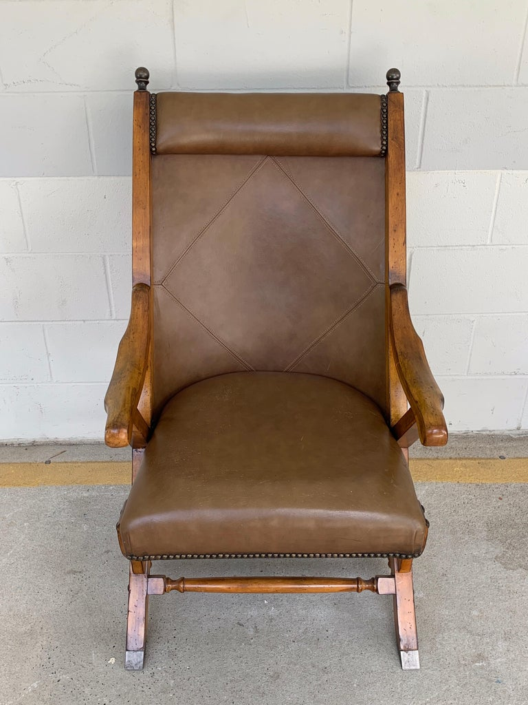 Brass Pair of English Campaign Style Chair Elm and Leather Chairs For Sale