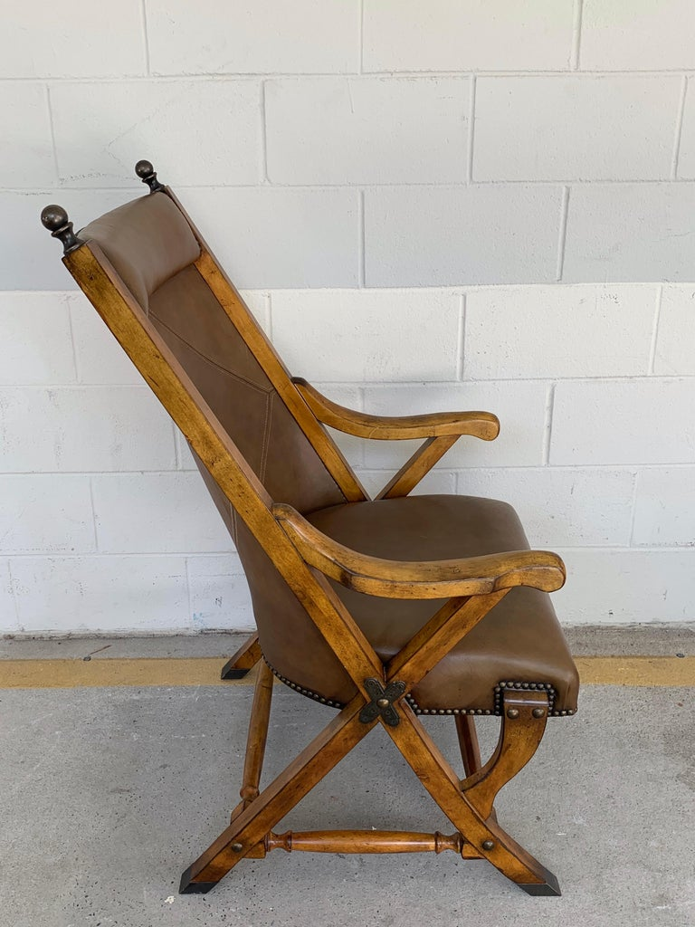 Pair of English Campaign Style Chair Elm and Leather Chairs For Sale 1